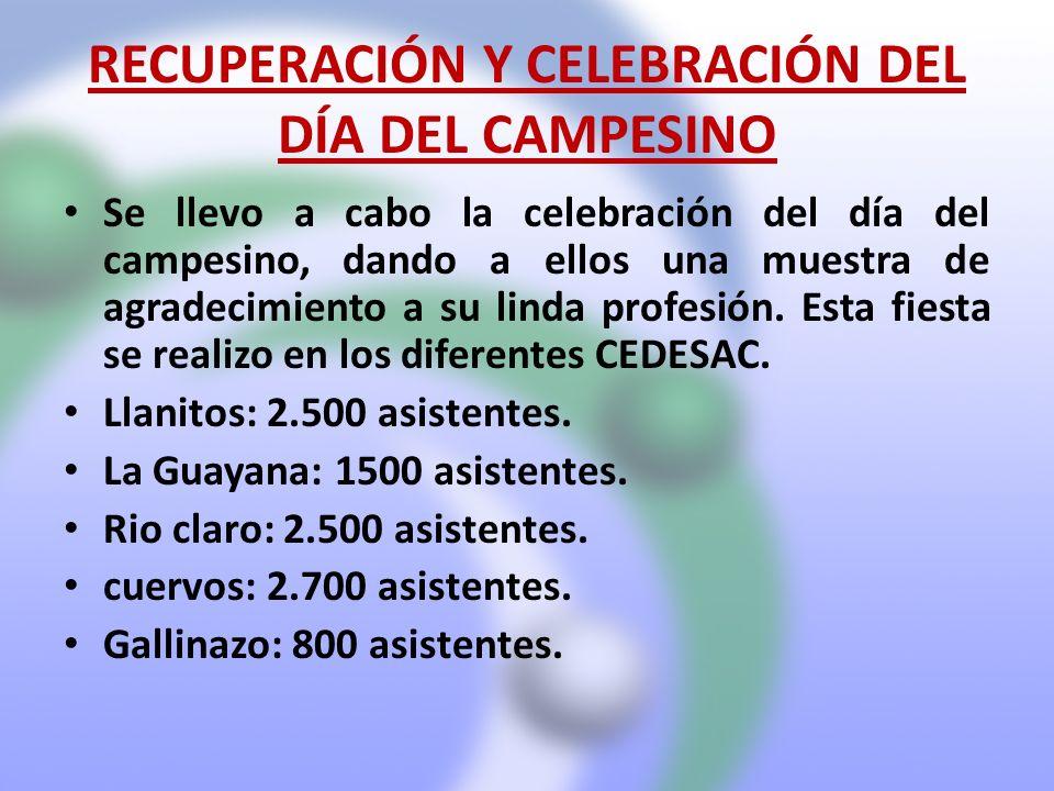 RECUPERACIÓN Y CELEBRACIÓN DEL DÍA DEL CAMPESINO Se llevo a cabo la celebración del día del campesino, dando a ellos una muestra de agradecimiento a s