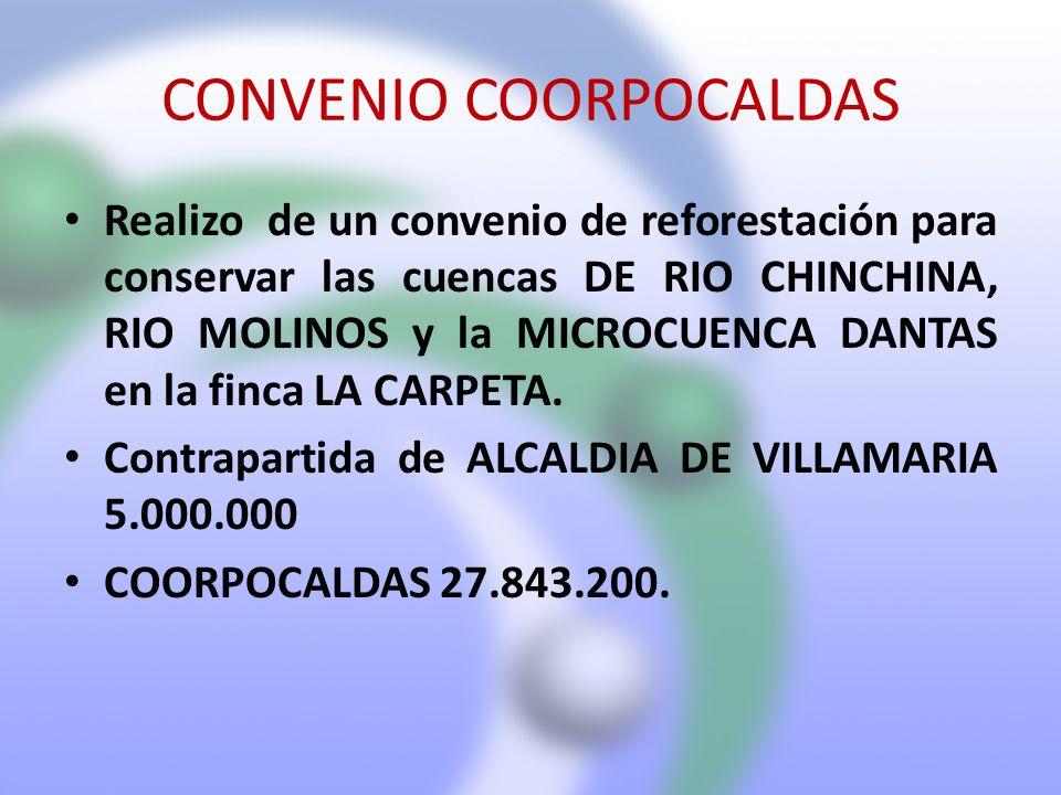 CONVENIO COORPOCALDAS Realizo de un convenio de reforestación para conservar las cuencas DE RIO CHINCHINA, RIO MOLINOS y la MICROCUENCA DANTAS en la f