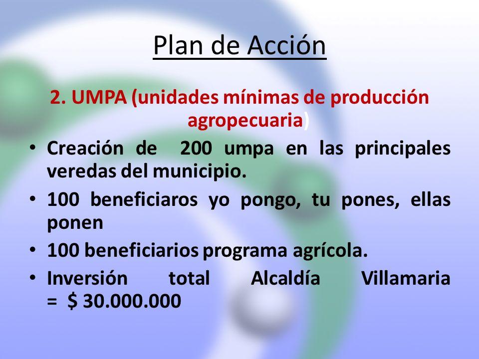 Plan de Acción 2. UMPA (unidades mínimas de producción agropecuaria) Creación de 200 umpa en las principales veredas del municipio. 100 beneficiaros y