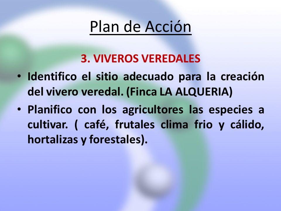 Plan de Acción 3. VIVEROS VEREDALES Identifico el sitio adecuado para la creación del vivero veredal. (Finca LA ALQUERIA) Planifico con los agricultor