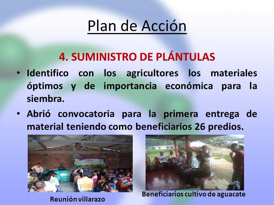 Plan de Acción 4. SUMINISTRO DE PLÁNTULAS Identifico con los agricultores los materiales óptimos y de importancia económica para la siembra. Abrió con