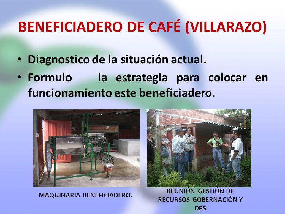 BENEFICIADERO DE CAFÉ (VILLARAZO) Diagnostico de la situación actual. Formulo la estrategia para colocar en funcionamiento este beneficiadero. MAQUINA