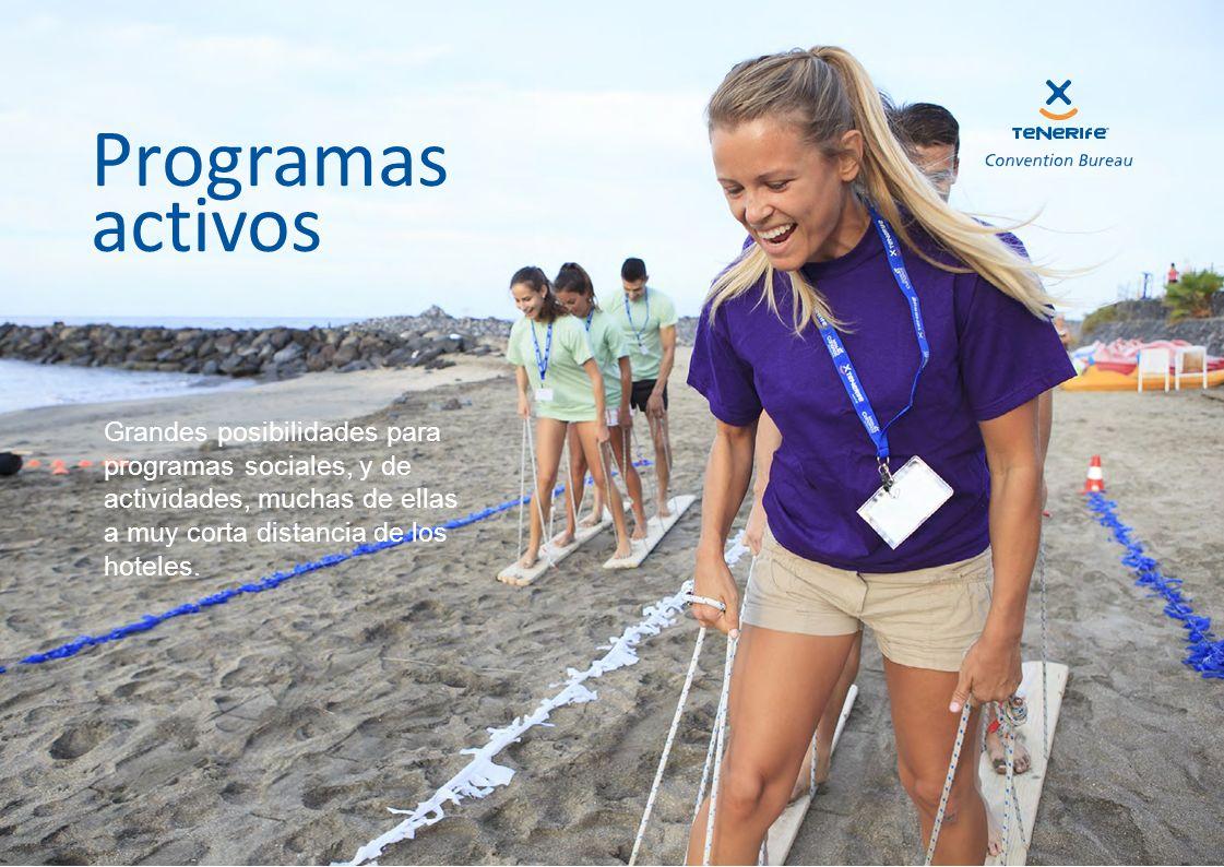 Programas activos Grandes posibilidades para programas sociales, y de actividades, muchas de ellas a muy corta distancia de los hoteles.