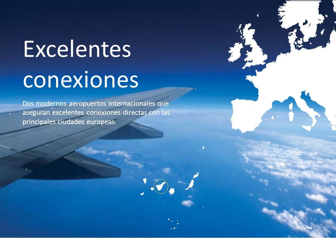 Excelentes conexiones Dos modernos aeropuertos internacionales que aseguran excelentes conexiones directas con las principales ciudades europeas.