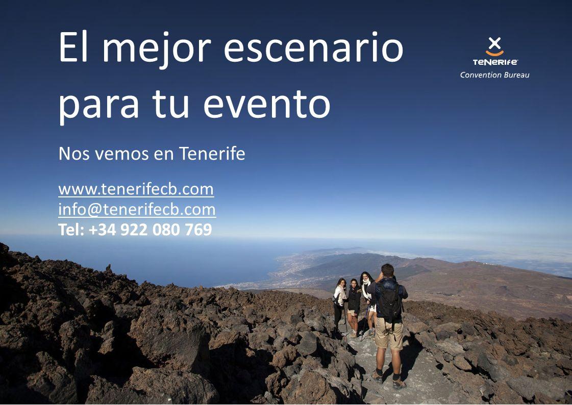 Nos vemos en Tenerife www.tenerifecb.com info@tenerifecb.com Tel: +34 922 080 769 El mejor escenario para tu evento