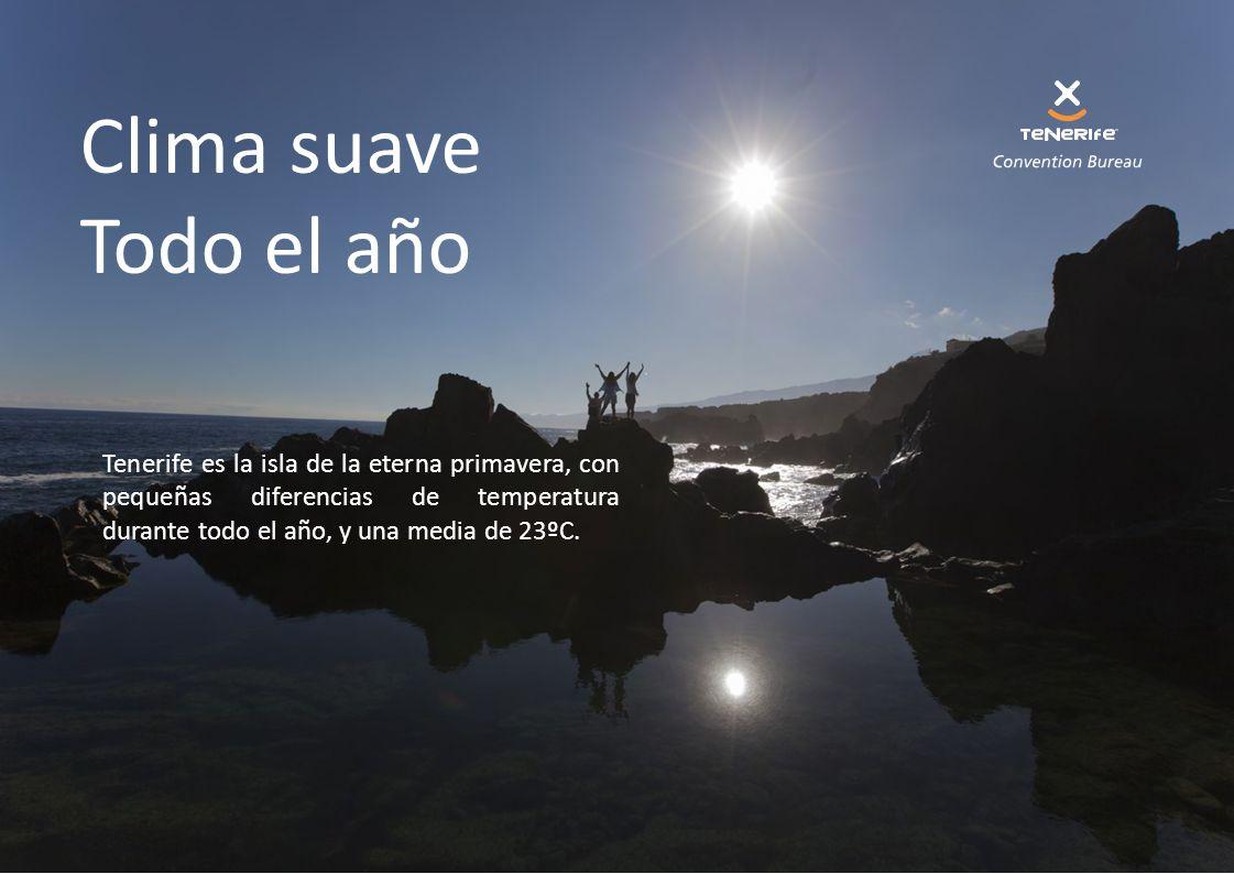 Clima suave Todo el año Tenerife es la isla de la eterna primavera, con pequeñas diferencias de temperatura durante todo el año, y una media de 23ºC.