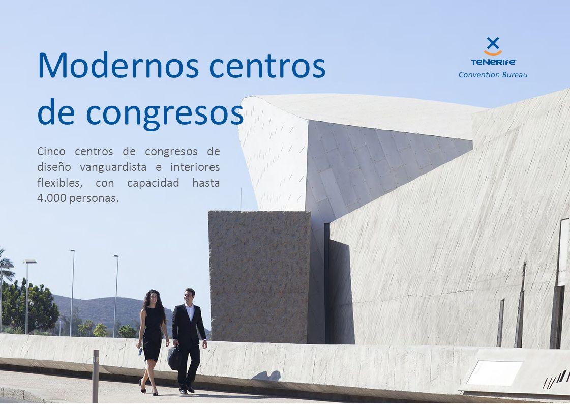 Cinco centros de congresos de diseño vanguardista e interiores flexibles, con capacidad hasta 4.000 personas. Modernos centros de congresos