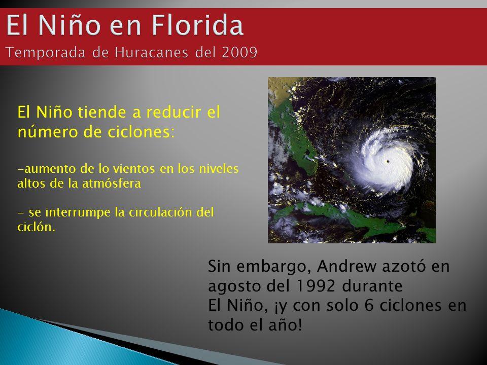 Sin embargo, Andrew azotó en agosto del 1992 durante El Niño, ¡y con solo 6 ciclones en todo el año! El Niño tiende a reducir el número de ciclones: -