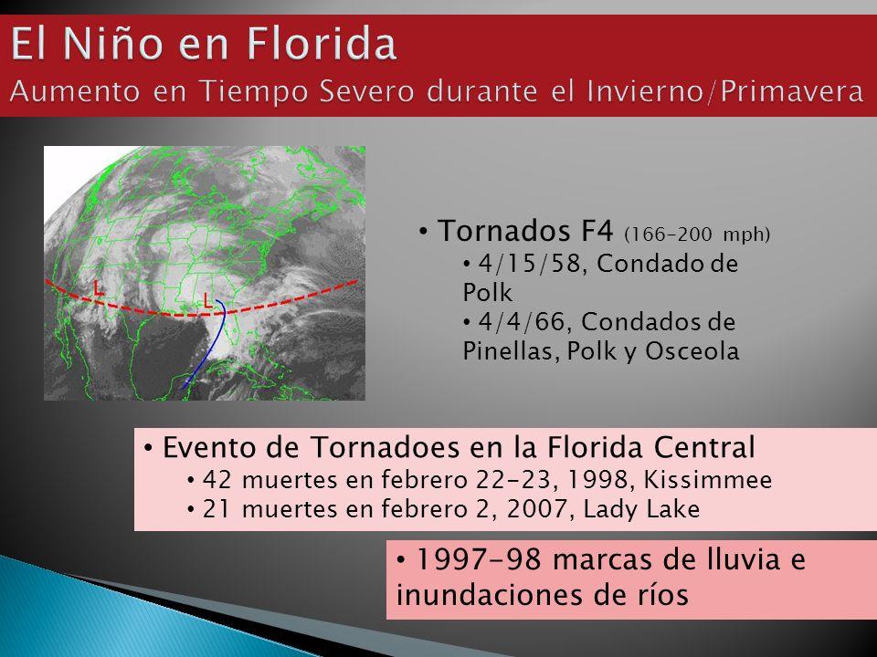 Tornados F4 (166-200 mph) 4/15/58, Condado de Polk 4/4/66, Condados de Pinellas, Polk y Osceola Evento de Tornadoes en la Florida Central 42 muertes en febrero 22-23, 1998, Kissimmee 21 muertes en febrero 2, 2007, Lady Lake 1997-98 marcas de lluvia e inundaciones de ríos