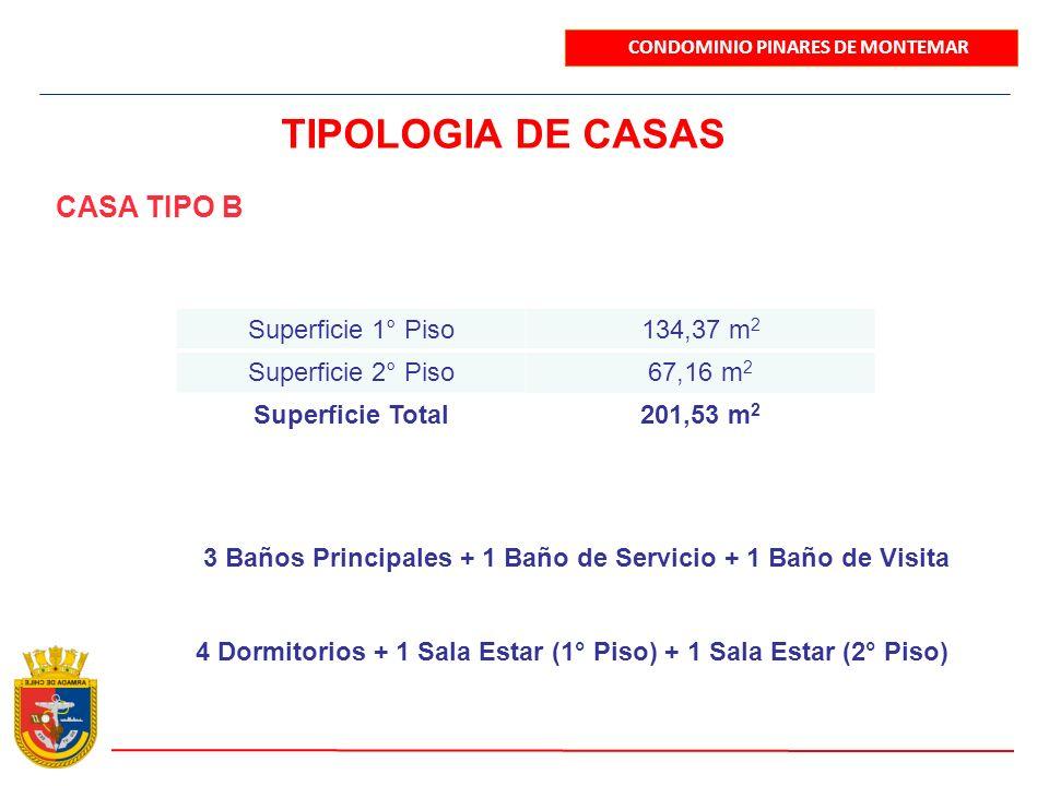 CONDOMINIO PINARES DE MONTEMAR TIPOLOGIA DE CASAS CASA TIPO B Superficie 1° Piso134,37 m 2 Superficie 2° Piso67,16 m 2 Superficie Total201,53 m 2 3 Ba