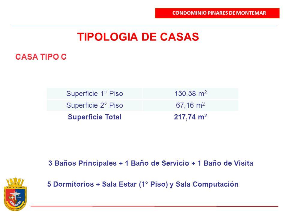 CONDOMINIO PINARES DE MONTEMAR TIPOLOGIA DE CASAS CASA TIPO C Superficie 1° Piso150,58 m 2 Superficie 2° Piso67,16 m 2 Superficie Total217,74 m 2 3 Ba