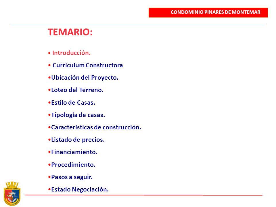 TEMARIO: Introducción. Currículum Constructora Ubicación del Proyecto. Loteo del Terreno. Estilo de Casas. Tipología de casas. Características de cons