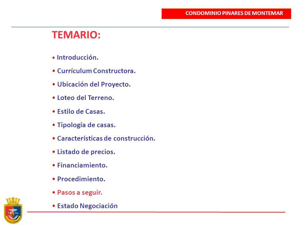 TEMARIO: Introducción. Currículum Constructora. Ubicación del Proyecto. Loteo del Terreno. Estilo de Casas. Tipología de casas. Características de con