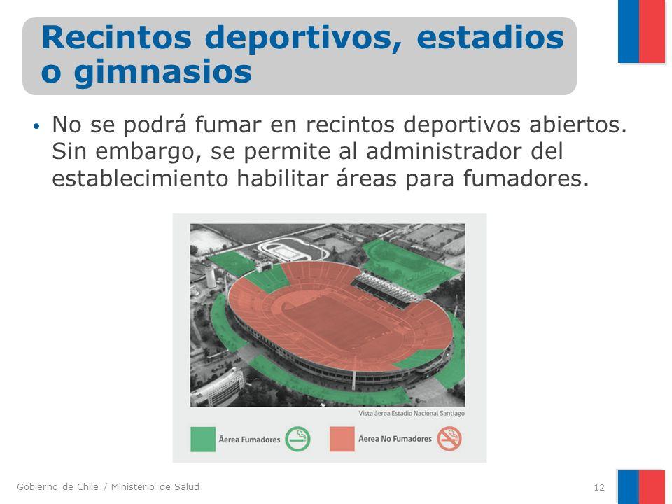 Gobierno de Chile / Ministerio de Salud No se podrá fumar en recintos deportivos abiertos. Sin embargo, se permite al administrador del establecimient