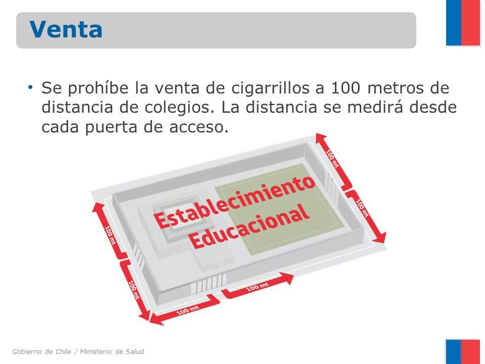 Gobierno de Chile / Ministerio de Salud Se prohíbe la venta de cigarrillos a 100 metros de distancia de colegios. La distancia se medirá desde cada pu