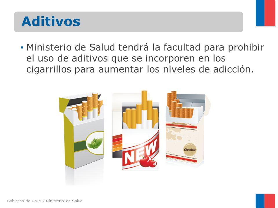 Gobierno de Chile / Ministerio de Salud Aditivos Ministerio de Salud tendrá la facultad para prohibir el uso de aditivos que se incorporen en los ciga