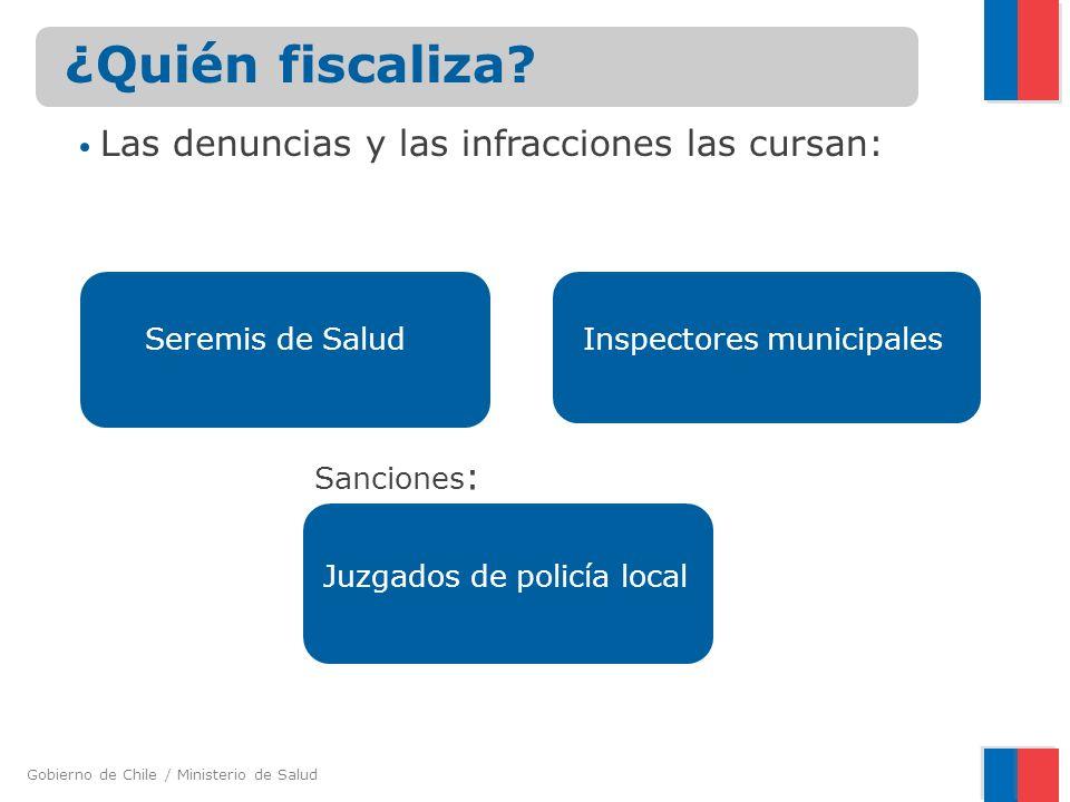 Gobierno de Chile / Ministerio de Salud Seremis de Salud ¿Quién fiscaliza? Inspectores municipales Las denuncias y las infracciones las cursan: Sancio