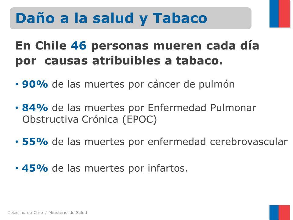 Gobierno de Chile / Ministerio de Salud 90% de las muertes por cáncer de pulmón 84% de las muertes por Enfermedad Pulmonar Obstructiva Crónica (EPOC)
