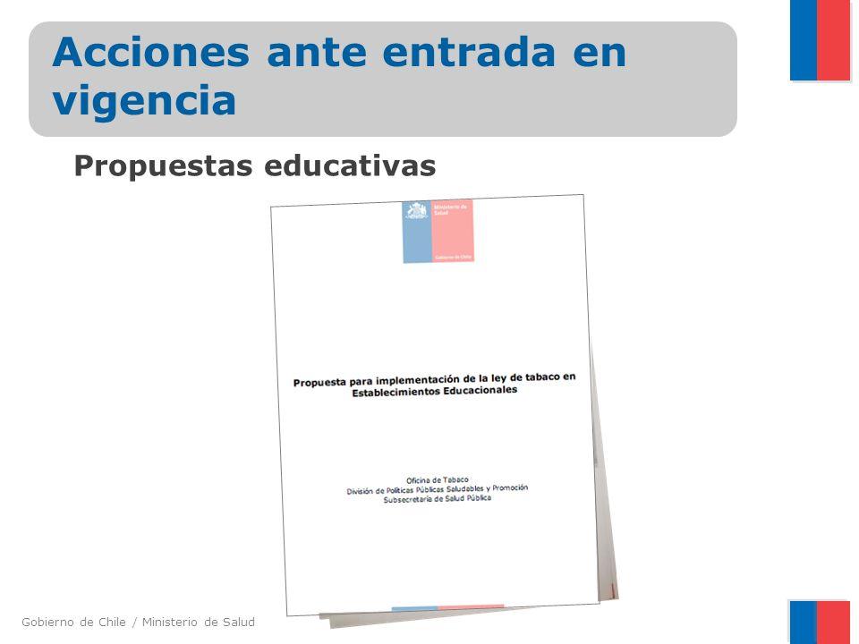Gobierno de Chile / Ministerio de Salud Acciones ante entrada en vigencia Capacitaciones a las seremis de salud de las 15 regiones del país y a inspectores municipales.