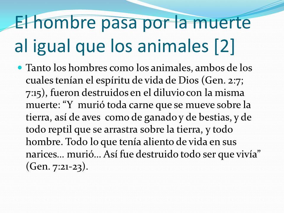 El hombre pasa por la muerte al igual que los animales [2] Tanto los hombres como los animales, ambos de los cuales tenían el espíritu de vida de Dios