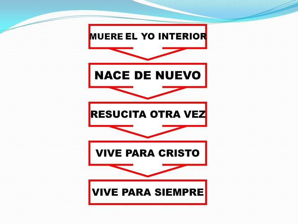 MUERE EL YO INTERIOR NACE DE NUEVO RESUCITA OTRA VEZ VIVE PARA SIEMPRE VIVE PARA CRISTO