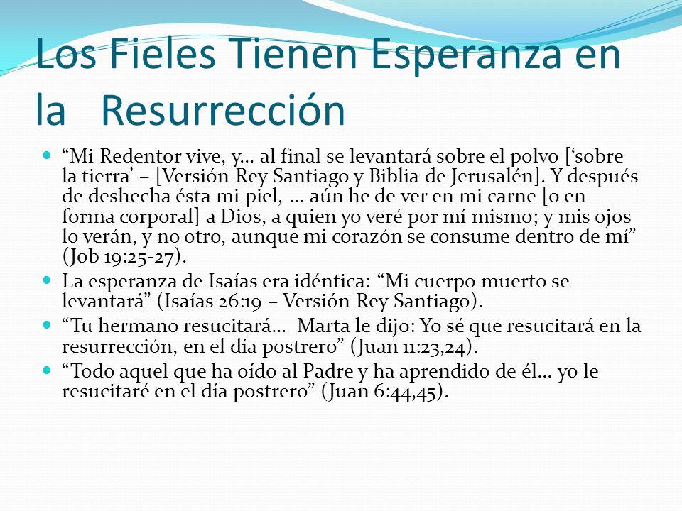 Los Fieles Tienen Esperanza en la Resurrección Mi Redentor vive, y... al final se levantará sobre el polvo [sobre la tierra – [Versión Rey Santiago y