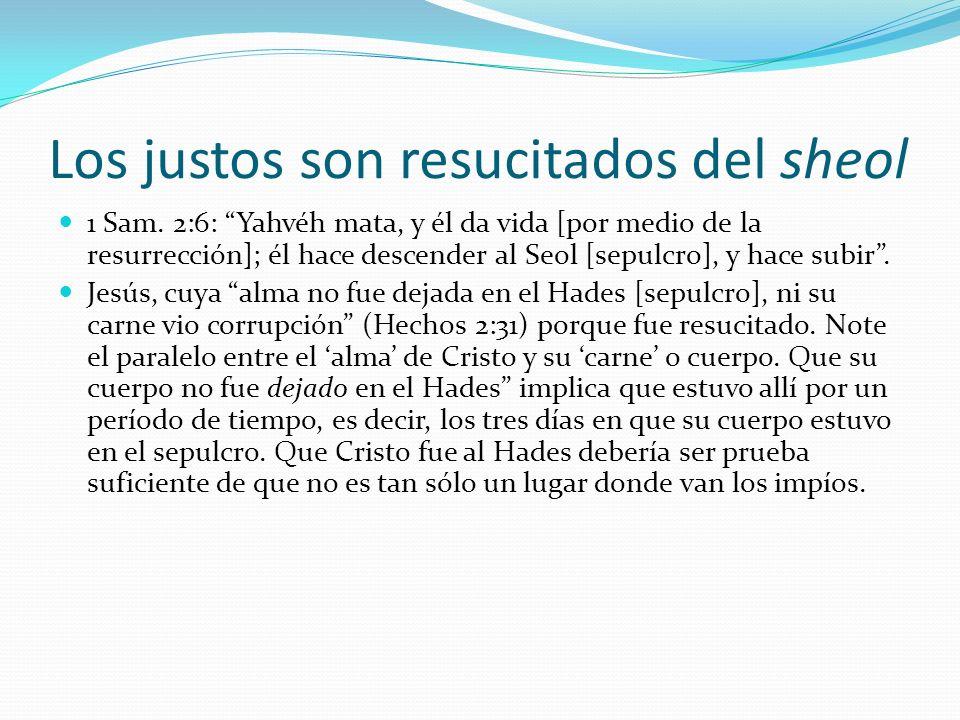 Los justos son resucitados del sheol 1 Sam. 2:6: Yahvéh mata, y él da vida [por medio de la resurrección]; él hace descender al Seol [sepulcro], y hac