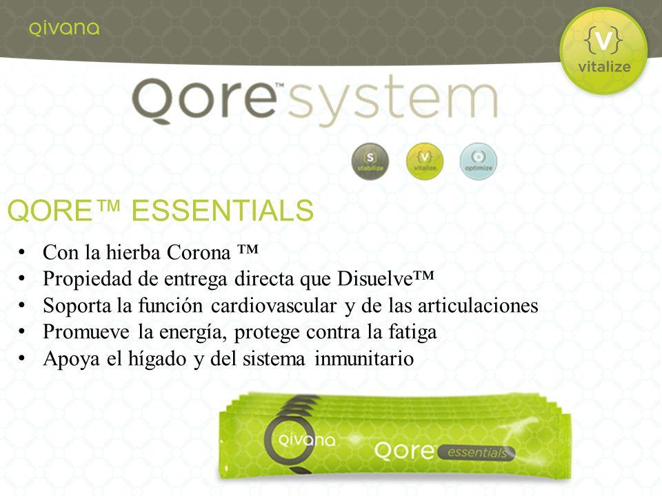 Con la hierba Corona Propiedad de entrega directa que Disuelve Soporta la función cardiovascular y de las articulaciones Promueve la energía, protege contra la fatiga Apoya el hígado y del sistema inmunitario QORE ESSENTIALS