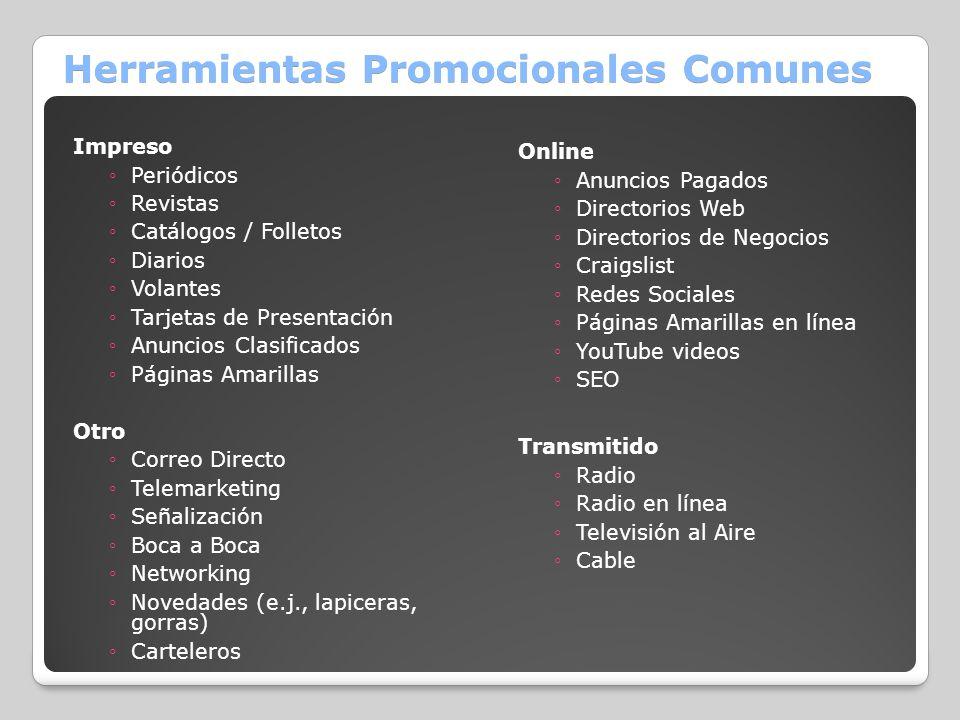 Herramientas Promocionales Comunes Impreso Periódicos Revistas Catálogos / Folletos Diarios Volantes Tarjetas de Presentación Anuncios Clasificados Pá