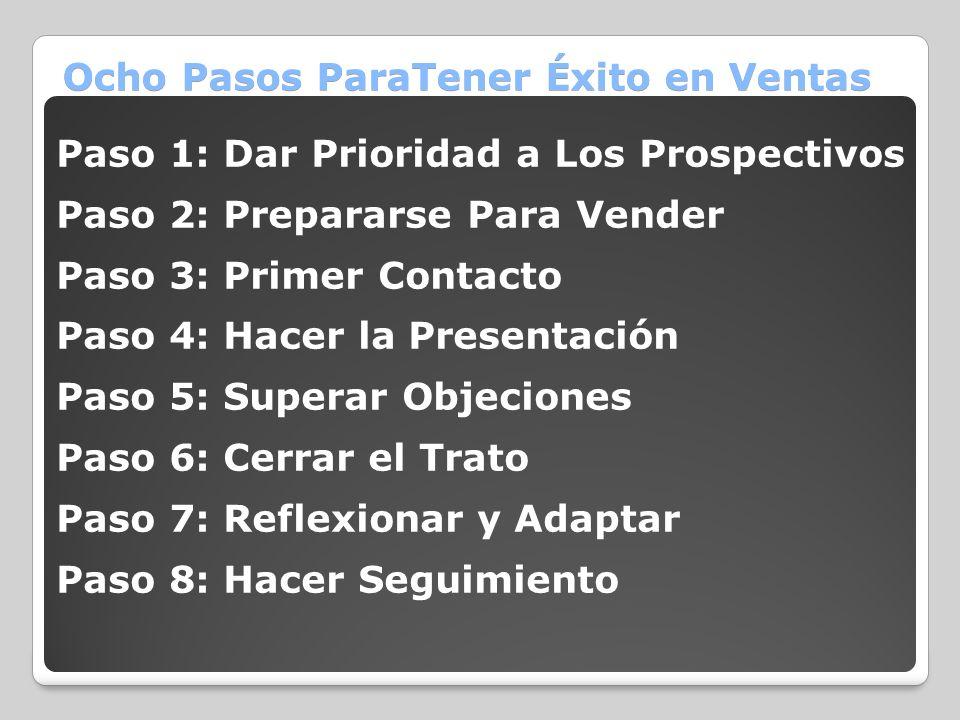 Ocho Pasos ParaTener Éxito en Ventas Paso 1: Dar Prioridad a Los Prospectivos Paso 2: Prepararse Para Vender Paso 3: Primer Contacto Paso 4: Hacer la