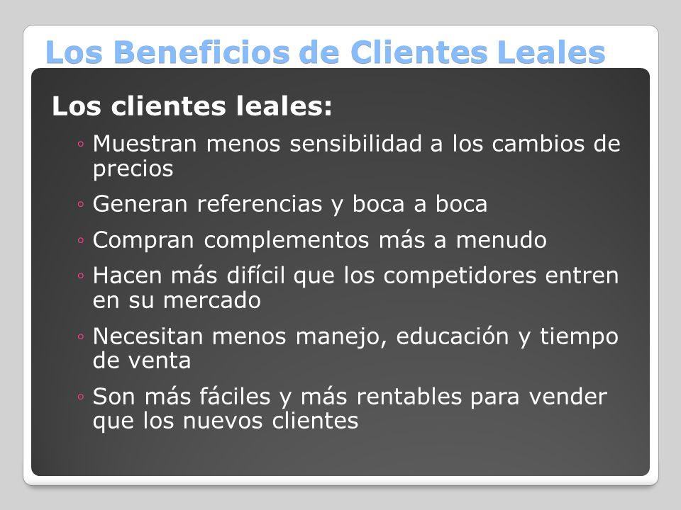Los Beneficios de Clientes Leales Los clientes leales: Muestran menos sensibilidad a los cambios de precios Generan referencias y boca a boca Compran
