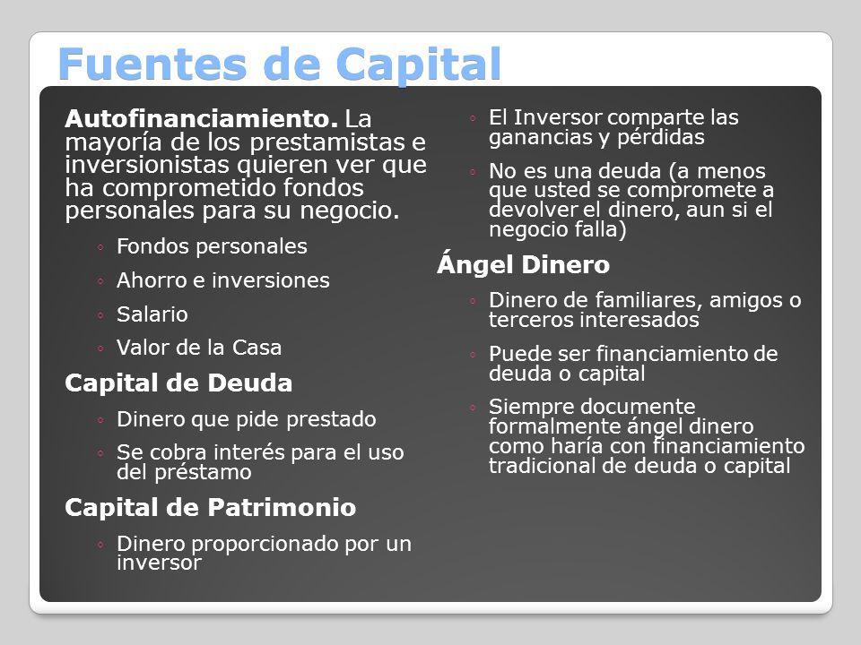 Fuentes de Capital Autofinanciamiento. La mayoría de los prestamistas e inversionistas quieren ver que ha comprometido fondos personales para su negoc