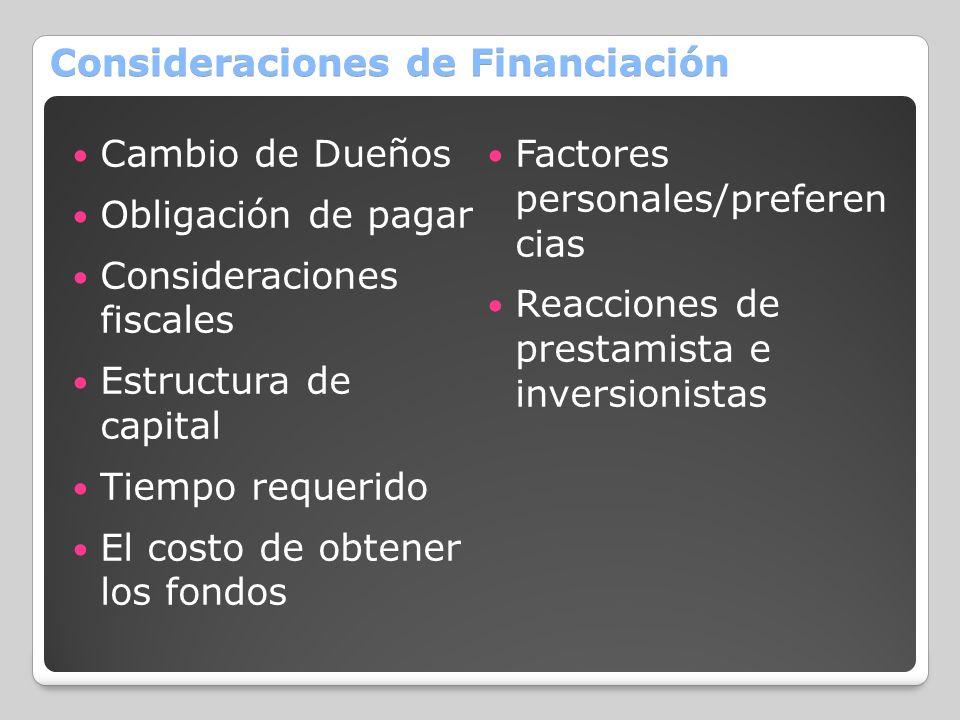 Consideraciones de Financiación Cambio de Dueños Obligación de pagar Consideraciones fiscales Estructura de capital Tiempo requerido El costo de obten