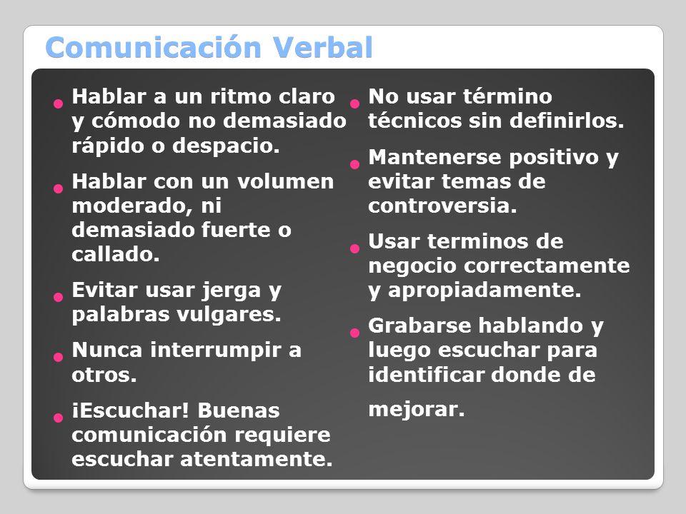 Comunicación Verbal Hablar a un ritmo claro y cómodo no demasiado rápido o despacio. Hablar con un volumen moderado, ni demasiado fuerte o callado. Ev