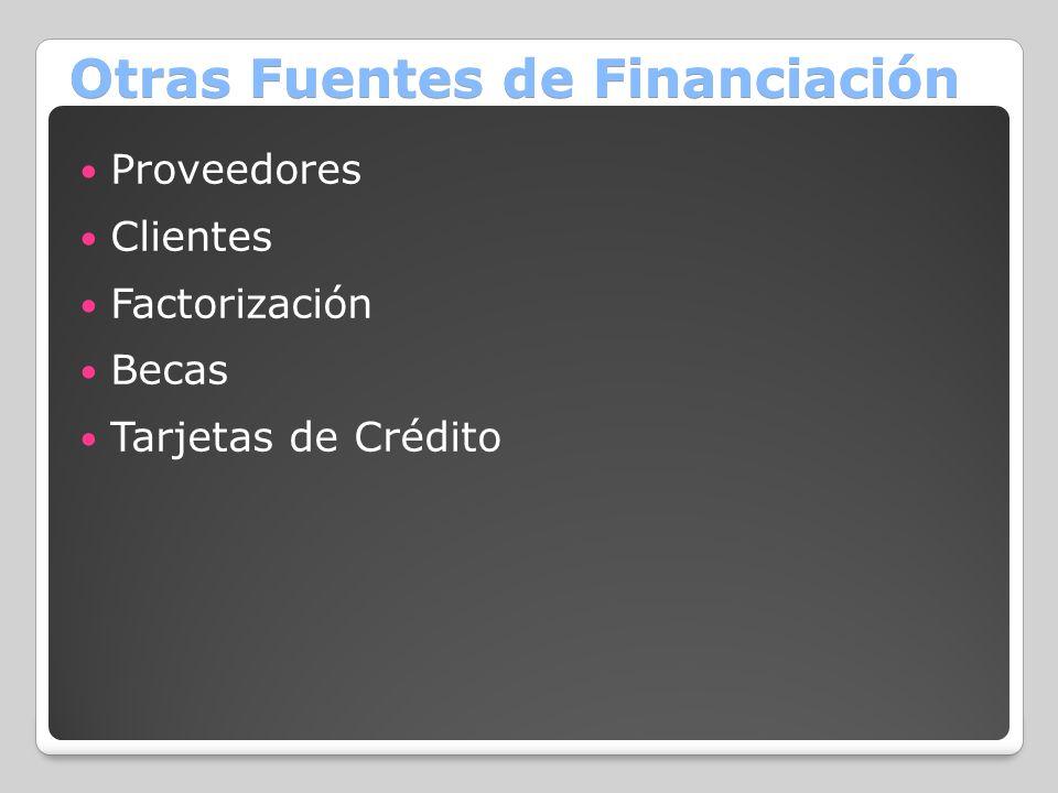 Otras Fuentes de Financiación Proveedores Clientes Factorización Becas Tarjetas de Crédito
