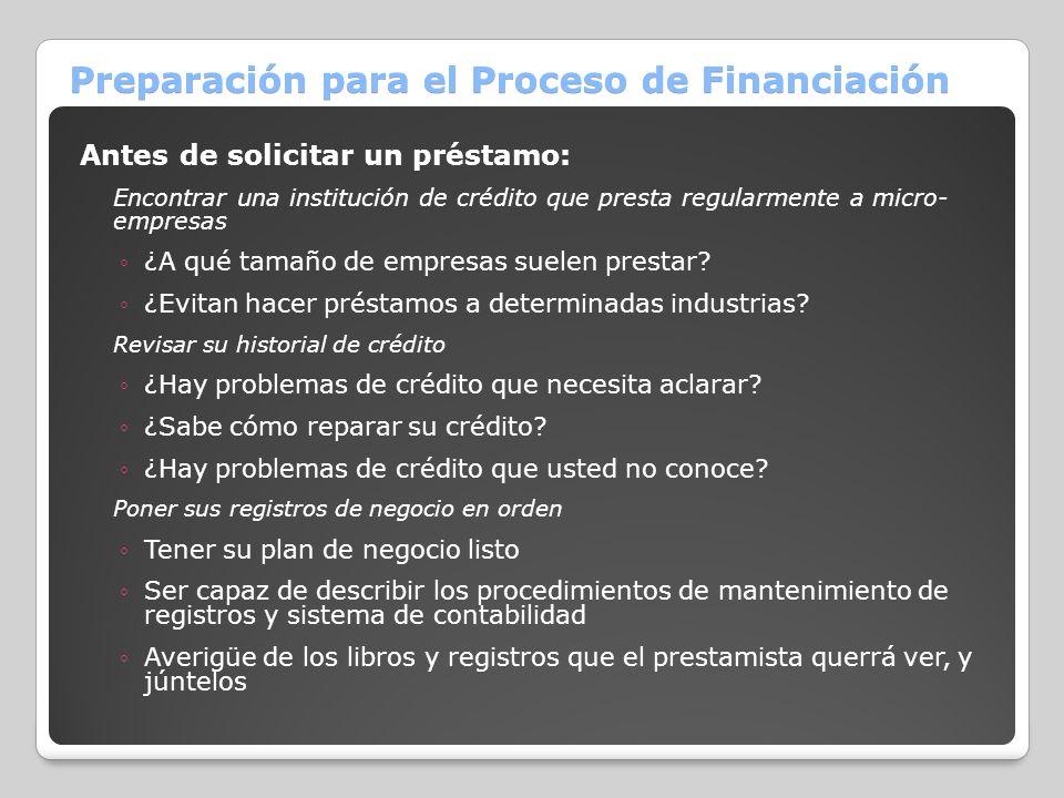 Preparación para el Proceso de Financiación Antes de solicitar un préstamo: Encontrar una institución de crédito que presta regularmente a micro- empr