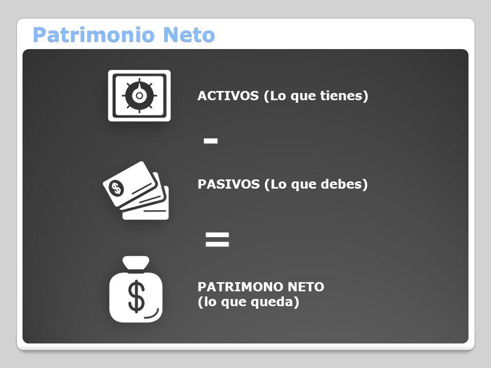 Patrimonio Neto ACTIVOS (Lo que tienes) PASIVOS (Lo que debes) PATRIMONO NETO (lo que queda) - =