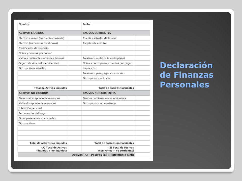 Declaración de Finanzas Personales