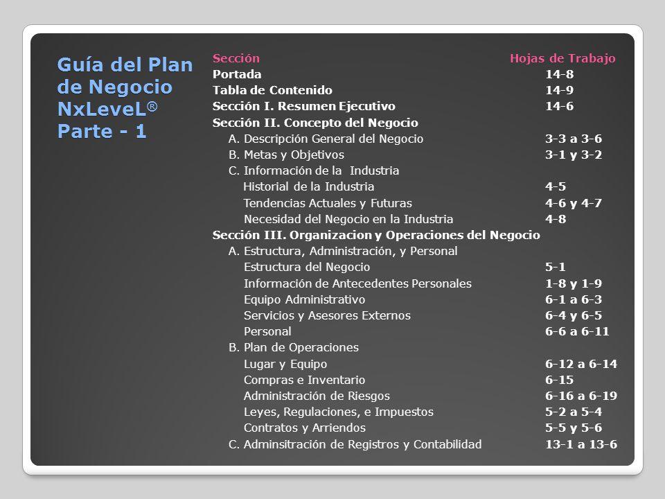 Guía del Plan de Negocio NxLeveL ® Parte - 1 Sección Hojas de Trabajo Portada14-8 Tabla de Contenido14-9 Sección I. Resumen Ejecutivo14-6 Sección II.