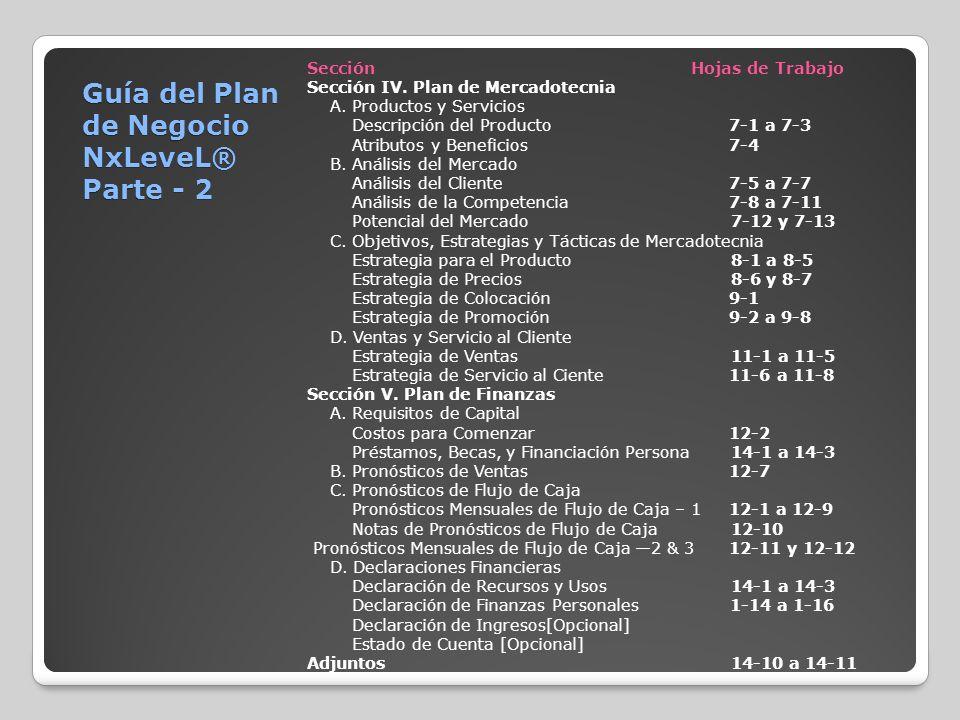 SecciónHojas de Trabajo Sección IV. Plan de Mercadotecnia A. Productos y Servicios Descripción del Producto 7-1 a 7-3 Atributos y Beneficios 7-4 B. An