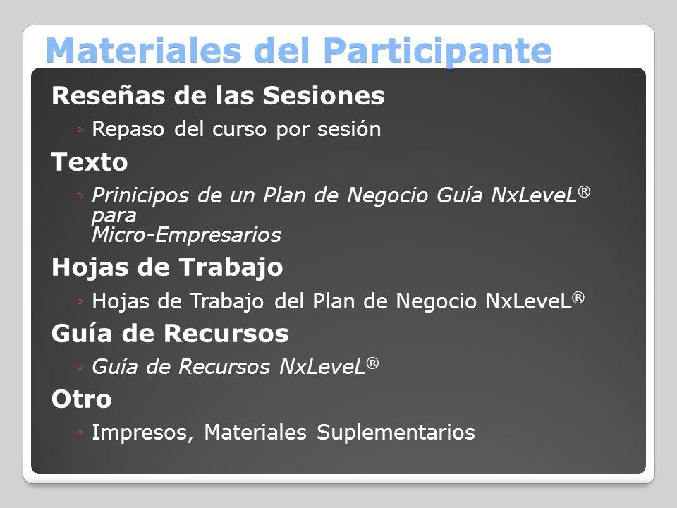 Materiales del Participante Reseñas de las Sesiones Repaso del curso por sesión Texto Prinicipos de un Plan de Negocio Guía NxLeveL ® para Micro-Empre