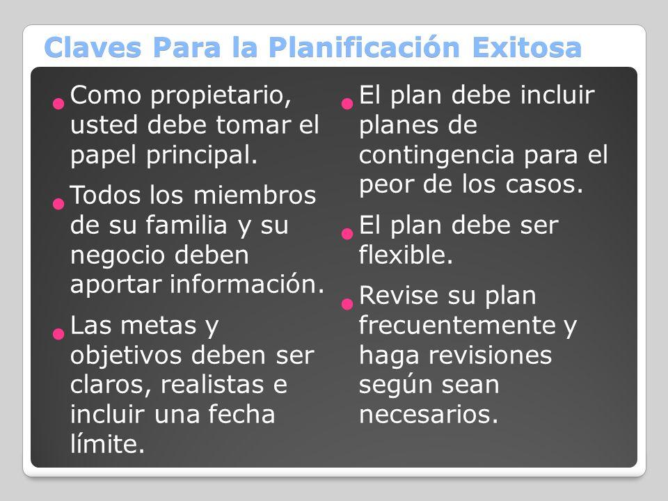 Claves Para la Planificación Exitosa Como propietario, usted debe tomar el papel principal. Todos los miembros de su familia y su negocio deben aporta