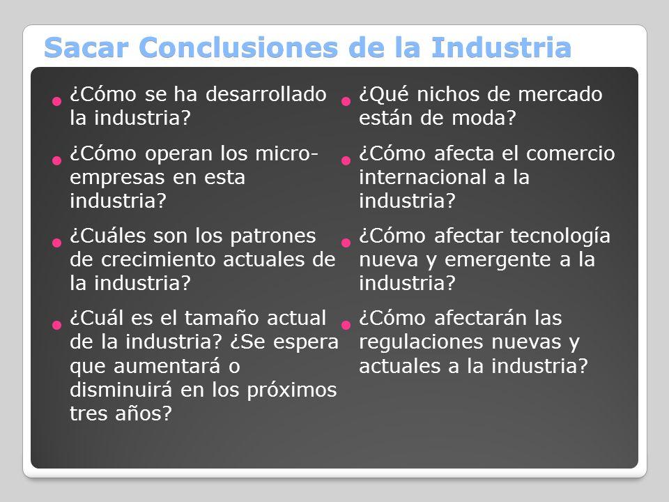 Sacar Conclusiones de la Industria ¿Cómo se ha desarrollado la industria? ¿Cómo operan los micro- empresas en esta industria? ¿Cuáles son los patrones