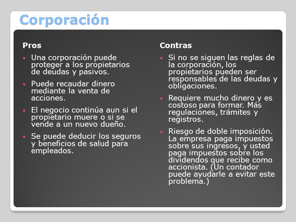 Corporación Pros Una corporación puede proteger a los propietarios de deudas y pasivos. Puede recaudar dinero mediante la venta de acciones. El negoci