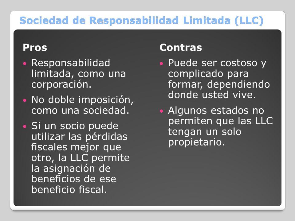 Sociedad de Responsabilidad Limitada (LLC) Pros Responsabilidad limitada, como una corporación. No doble imposición, como una sociedad. Si un socio pu