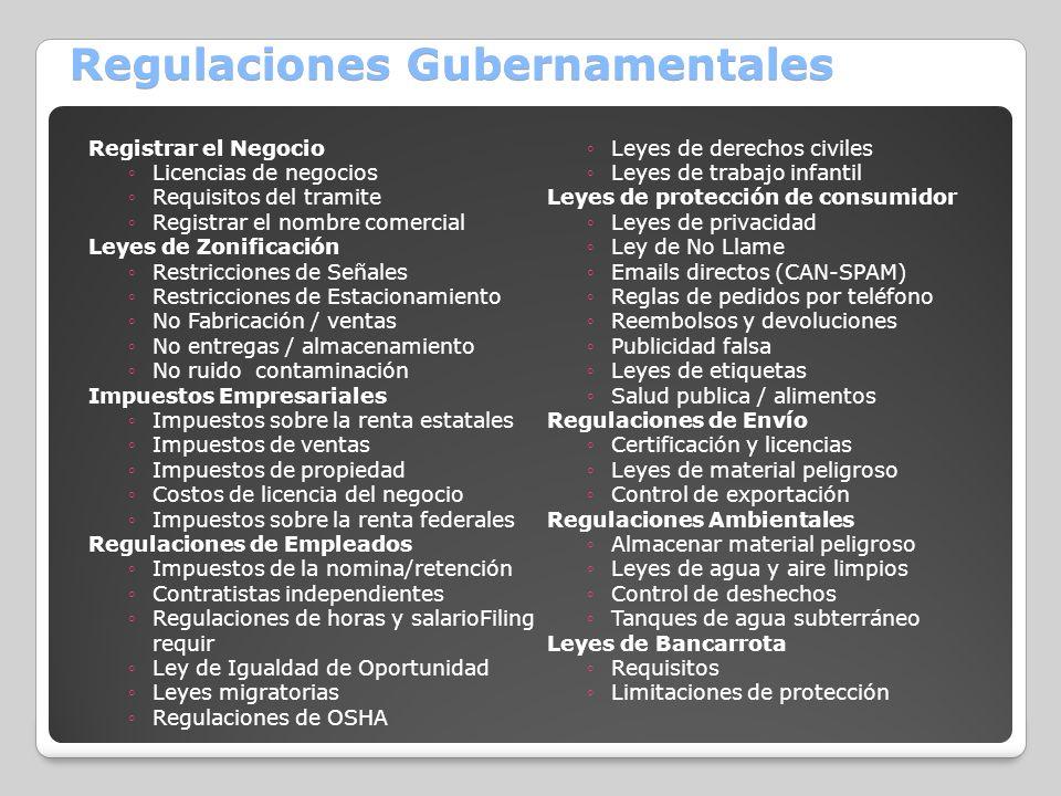 Regulaciones Gubernamentales Registrar el Negocio Licencias de negocios Requisitos del tramite Registrar el nombre comercial Leyes de Zonificación Res