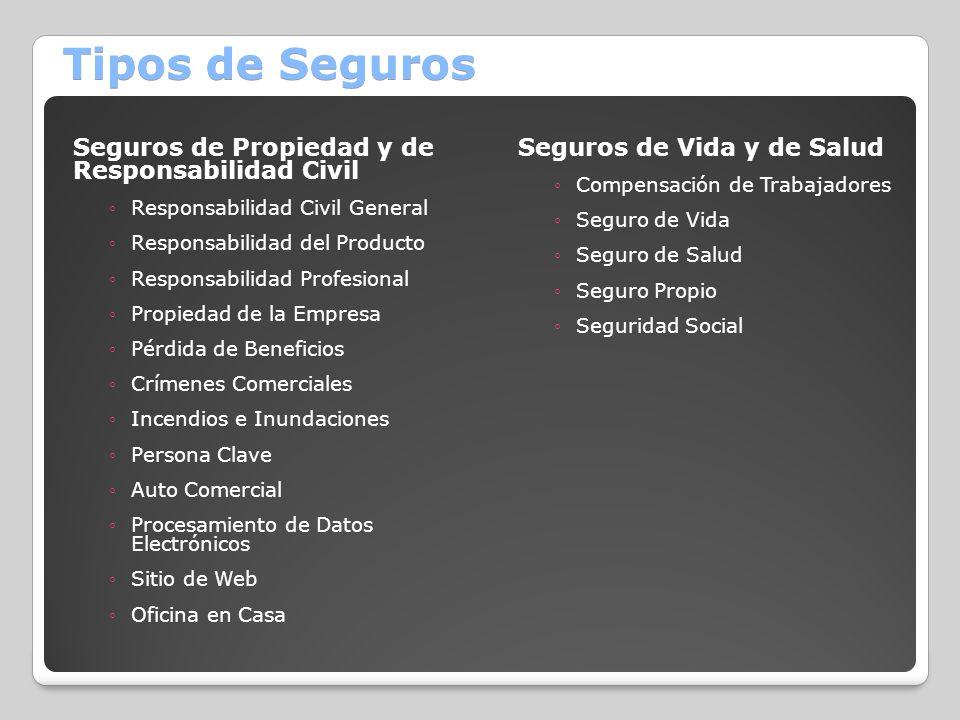 Tipos de Seguros Seguros de Propiedad y de Responsabilidad Civil Responsabilidad Civil General Responsabilidad del Producto Responsabilidad Profesiona