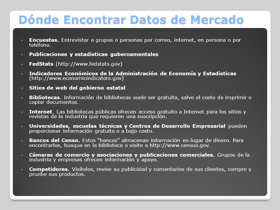 Dónde Encontrar Datos de Mercado Encuestas. Entrevistar a grupos o personas por correo, internet, en persona o por teléfono. Publicaciones y estadísti