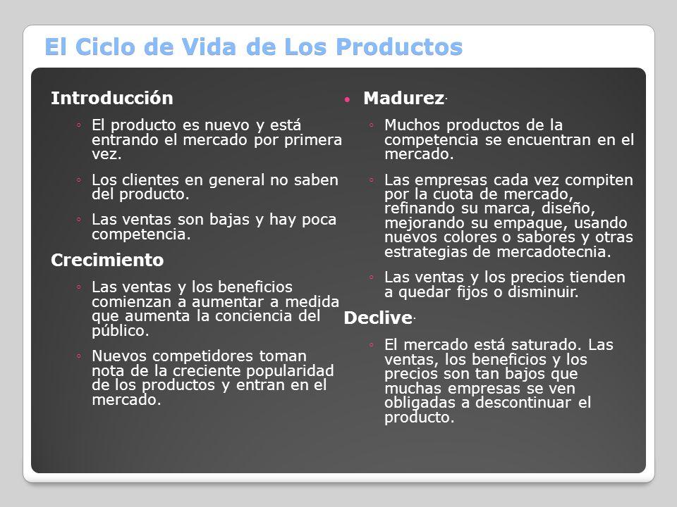 El Ciclo de Vida de Los Productos Introducción El producto es nuevo y está entrando el mercado por primera vez. Los clientes en general no saben del p