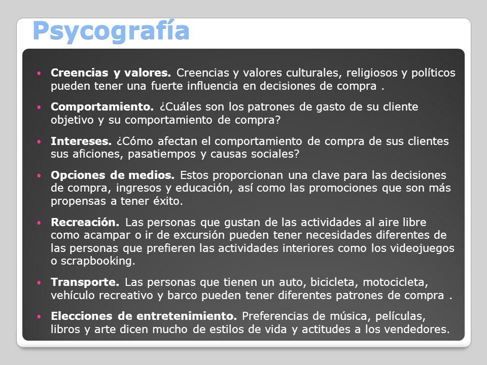 Psycografía Creencias y valores. Creencias y valores culturales, religiosos y políticos pueden tener una fuerte influencia en decisiones de compra. Co